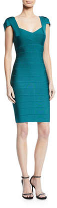 Herve Leger Cap-Sleeve Knee Length Bandage Dress