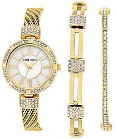 Anne KleinAnne Klein Goldtone Watch & Swarovski Crystal Bracelet Set