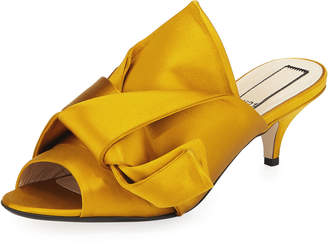 No.21 No. 21 Pleated Satin Slide Mule Sandal, Marigold