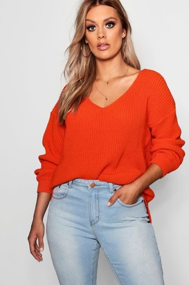 boohoo Plus Oversized V Neck Jumper