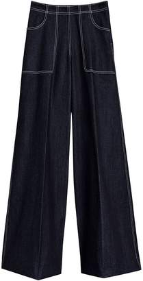 Burberry Stretch Japanese Denim Wide-leg Jeans
