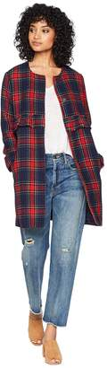 BB Dakota Swag Out Plaid Ruffle Coat Women's Coat