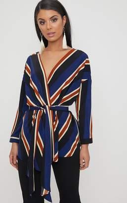PrettyLittleThing Khaki Bold Stripe Tie Waist Blouse