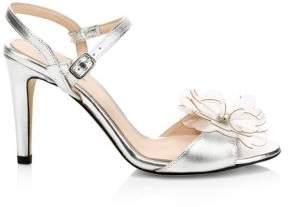 Kate Spade Women's Giulia Flower Metallic Stiletto Sandals - Rose Gold - Size 6