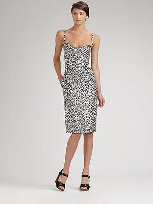 Dolce & Gabbana Silk Print Bustier Dress