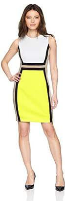Calvin Klein Women's Petite Sleeveless Color Block Sheath Dress