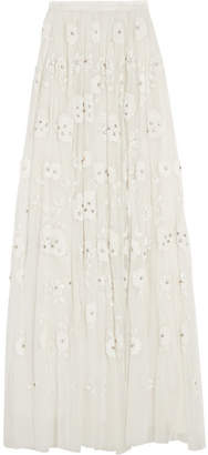Needle & Thread - Embellished Tulle Maxi Skirt - Ivory $898 thestylecure.com