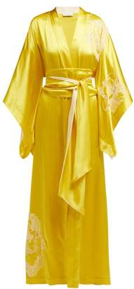 Carine Gilson Floral Embroidered Silk Satin Kimono Robe - Womens - Yellow