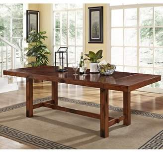 Walker Edison Traditional Distressed Dark Oak Wood Expandable Kitchen Dining Table