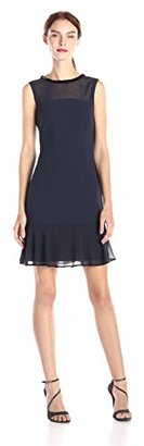Marc New York by Andrew Marc Women's Sleeveless Bateau Neck Illusion Flounce Hem $148 thestylecure.com