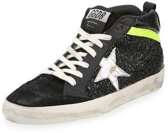 Golden Goose Mid Star Suede & Glitter Sneakers