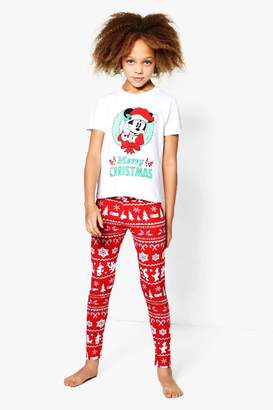 boohoo Girls Disney Mickey Christmas Tee & Legging Set