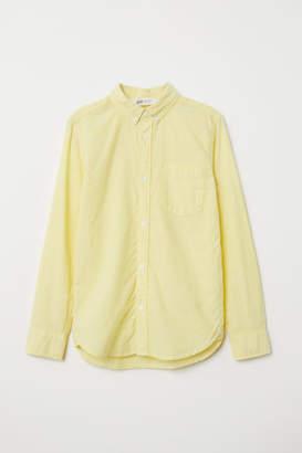 H&M Long-sleeved Cotton Shirt - Yellow