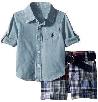 Ralph Lauren Shirt, Belt Madras Shorts Set Boy's Active Sets