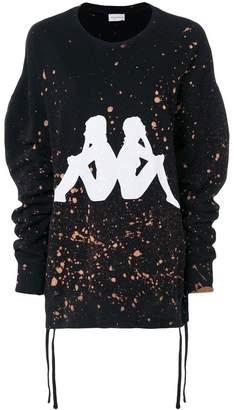 Faith Connexion x Kappa distressed splatter print oversized sweatshirt