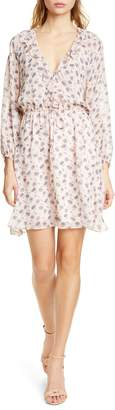 Joie Marelle Ruffle Neck Long Sleeve Silk Dress