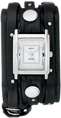 La Mer Women's LMSW1000 Black Silver Stud Analog Display Quartz Black Watch