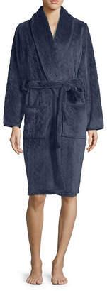 Spencer Womens Fleece Robe Long Sleeve Mid Length