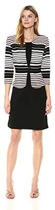 Sandra Darren Women's 2 Pc 3/4 Sleeve Printed Striped Bullet Knit Jacket Dress
