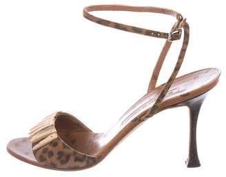 Manolo Blahnik Leopard Ankle Strap Sandals