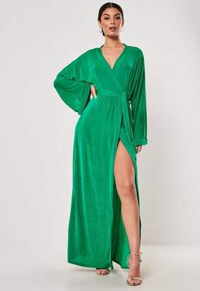 d207512c628f9 Missguided Green Slinky Belted Wrap Kimono Maxi Dress