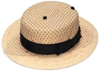 Justine Hats - Straw Boater Hat With Veil