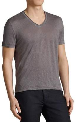 John Varvatos Collection Linen Jersey Trim V-Neck Tee