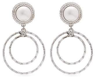 Alessandra Rich Faux Pearl Crystal Hoop Drop Earrings - Womens - Pearl