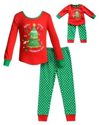 Dollie & Me Elf & Tree Long Sleeves Snug Top and Pajama - 2 -Piece Outfit with Matching Doll Set (Little Girls and Big Girls)