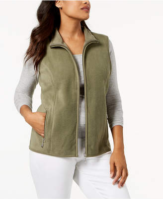 Karen Scott Zeroproof Fleece Stand Collar Vest