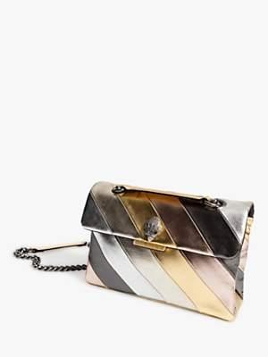 Kurt Geiger London Kensington Striped Leather Shoulder Bag, Metallic