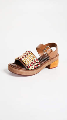 Marni Wood & Leather Sandals