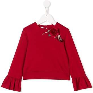 Miss Blumarine rose appliqué sweater