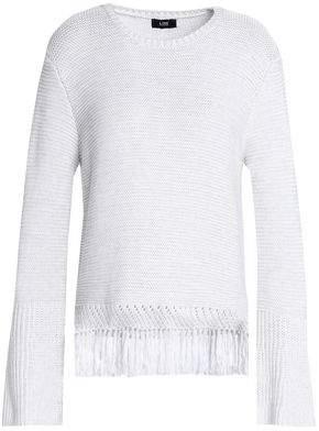 Line Fringe-Trimmed Cotton Sweater