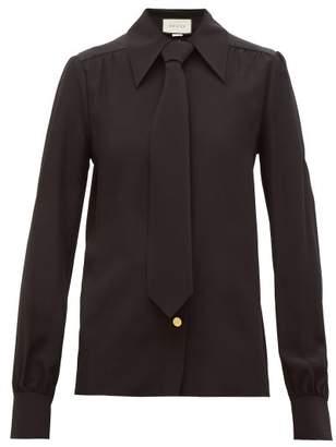 Gucci Tie Silk Crepe De Chine Shirt - Womens - Black