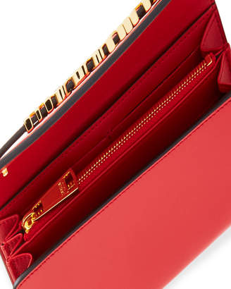 Moschino Calf Leather Shopping Wallet, Red/Gold