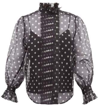 Marc Jacobs Polka Dot Silk Organza Blouse - Womens - Black