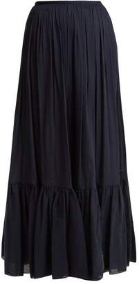 Loup Charmant - Flores Tiered Cotton Maxi Skirt - Womens - Navy
