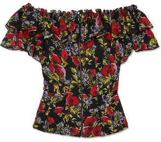 54c1ae6bf4c02c Dolce & Gabbana Ruffled Floral-print Silk-blend Chiffon Bustier Top - Black