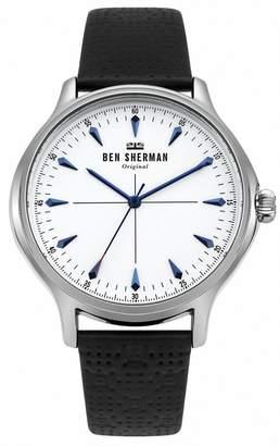Ben Sherman Men's 'Kensington Heritage' Quartz Silver-Tone and Leather Casual Watch, Color Black (Model: WB018S)