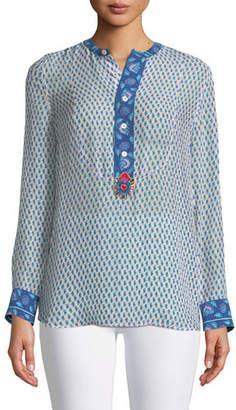 Figue Long-Sleeve Floral-Print Silk Georgette Shirt