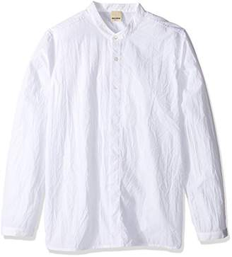 Baldwin Men's Mingo-Mandarin Collar Shirt with Partial Covered Placket