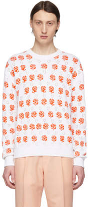Kenzo White and Orange Rose Crewneck Sweater