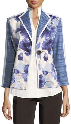 Misook Watercolor Floral Stripe-Sleeve Jacket, Petite