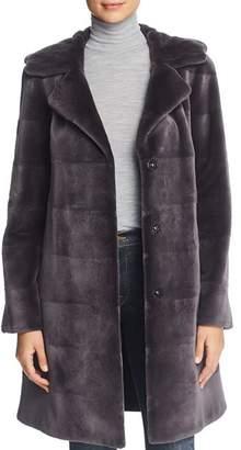 Maximilian Furs Reversible Hooded Sheared Mink Fur Coat