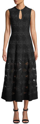 Alaia Metallic-Floral Keyhole Neck Gown