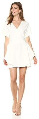 Halston Women's Short Sleeve V Neck Ponte Dress with Flounce Skirt