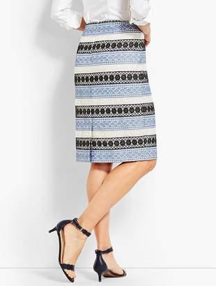 Talbots Lace Stripe Pencil Skirt