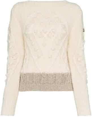 Moncler stripe-hem wool and alpaca blend jumper