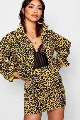 boohoo Raw Hem Leopard Denim Trucker Jacket